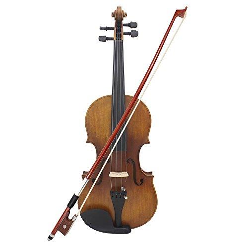 ammoon Voller Größe Violine 4/4 Geige solide Holz Mattende Fichte Gesicht Board Ebenholz Griffbrett 4-saitige Instrument mit hart RS Bow Rosin sauberen Tuch