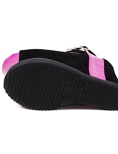 WSS 2016 Chaussures Femme-Décontracté-Noir / Fuchsia-Talon Compensé-Compensées-Chaussures à Talons-Laine synthétique fuchsia-us8 / eu39 / uk6 / cn39
