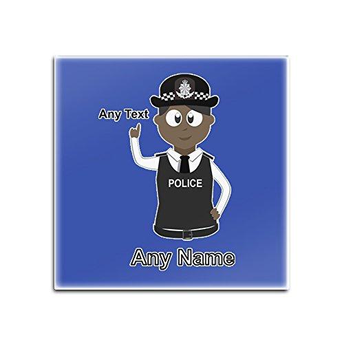 Personalisiertes Geschenk-Set - 4 Stück (Assistant) Chef Constable Dependant Assistent (Farbe Polizei) jeder Namensnachricht Einzigartige Matte Pad DAC ACC AC Schwarz Polizistin Hut Cap, blau, Quadrat (Blauen Assistenten Hut)