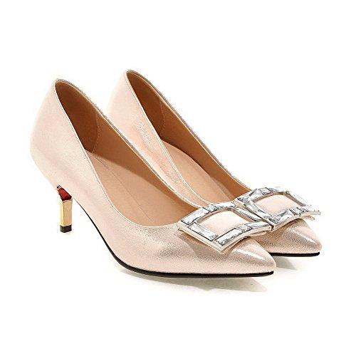 VogueZone009 Femme Pu Cuir Mosaïque Tire Fermeture D'Orteil Pointu à Talon Haut Chaussures Légeres Doré