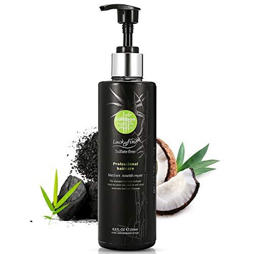Scheda dettagliata Shampoo di carbone Luckyfine , Shampoo antiforfora, Shampoo professionale,di bambù e cura biologica, nuova formula singola con olio vegetale di mare profondo, carbone di bambù, Shampoo senza solfati
