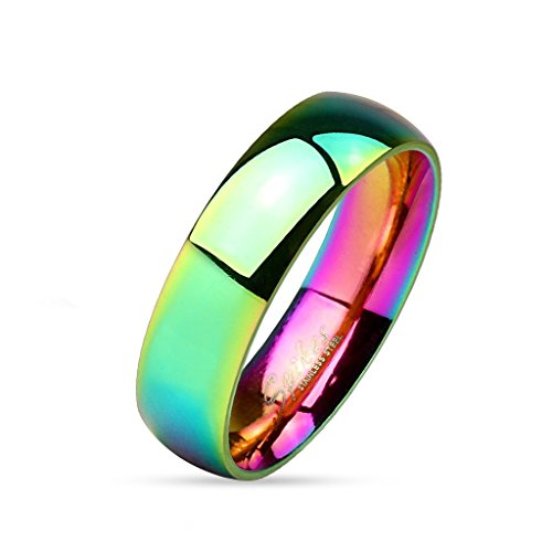 beyoutifulthings funkelnder Regenbogen Band-Ring Chirurgenstahl 316L Verlobungs-Ring Partner-Ring Trau-Ring 47(15)-69(22)