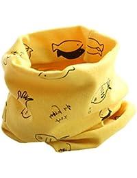 BIGBOBA Bufanda de puro algodón para niños. Bufanda calentadora de cuello para viajar al aire libre en otoño y en invierno, algodón, Rojo, 40*20cm