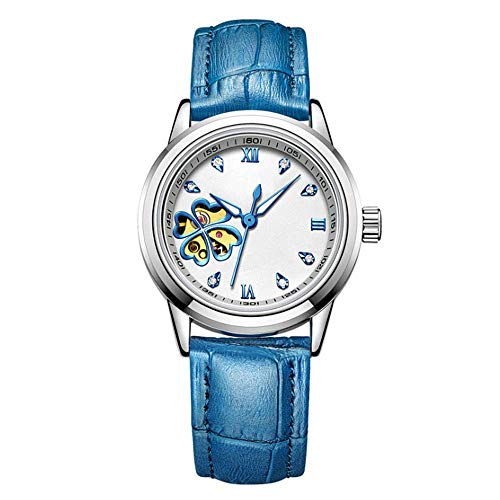 toomd lady mechanical watches, leather strap with mechanical automatic watch movement anti-scratch organic tempered glass hollow waterproof woman watches can be luminous gifts