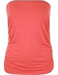 WearAll Plus Size Womens Plain Black Bandeau Strapless Ladies Boob Tube Top - 14-18
