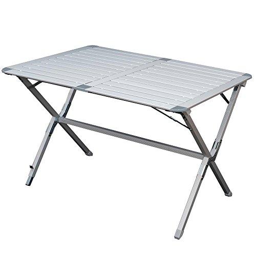 Aluminium Campingtisch mit Lamellen Tischplatte. Ein Rolltisch für Indoor und Outdoor. Faltbar. Hochwertiger Gartentisch, klappbar. Alu Beistelltisch auf Festivals und Reisen. Maße: ca 110x70x70cm
