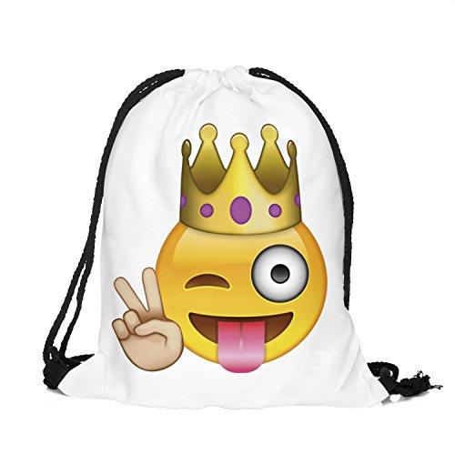 ng Emoticon Emoji Smiley Beuteltasche Hipsterbag Gymsack Festival (Weiß) ()