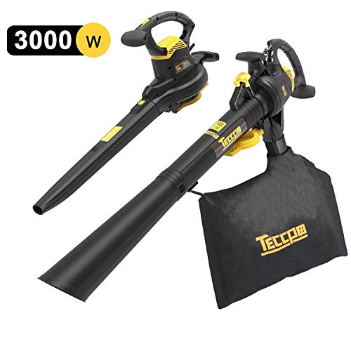 TECCPO 3-en-1 Soplador de Hojas Con Cable, Aspirador, Triturador Eléctrico, 3000W, 11000/14000 RPM...