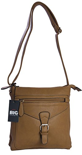 Big Handbag Shop - Borsa a tracolla donna (Tortora medio)