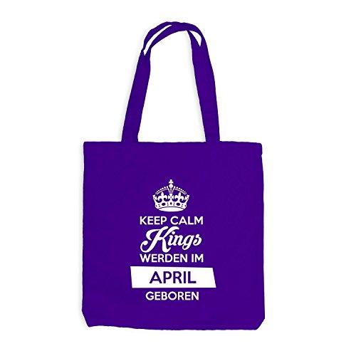 Jutebeutel - Keep Calm Kings werden im April geboren - Birthday Geburtstag Violett