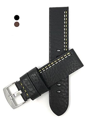 Luxus Leder Uhrenarmband 22mm für Herren, Schwarz Mit Weißer/Gelber Naht, Schließe Edelstahl, auch verfügbar in schwarz mit weiß, blau, orange, rot oder gelbe Nähte und hellbraun