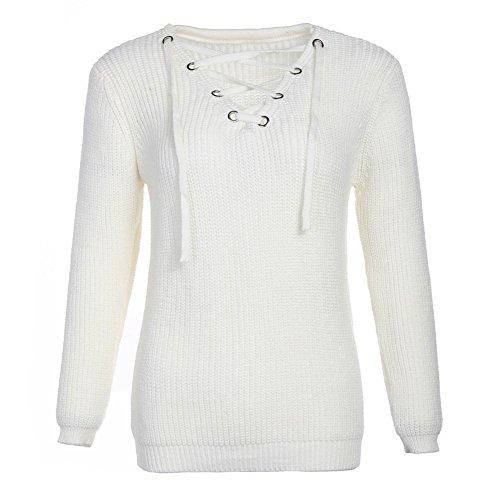 frau sweatshirt stricken tops querriemen v ausschnitt lange ärmel elastizität lose sweatshirts pullovers . white . one (Kostüm Dance Angel White)