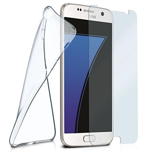 moex Silikon-Hülle für Samsung Galaxy S7 | + Panzerglas Set [360 Grad] Glas Schutz-Folie mit Back-Cover Transparent Handy-Hülle Samsung Galaxy S7 Case Slim Schutzhülle Panzerfolie