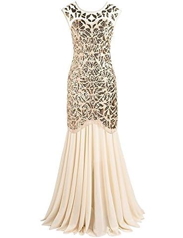 PrettyGuide Damen 1920s Schwarz Pailletten Gatsby Bodenlangen Abendkleid S Gold beige