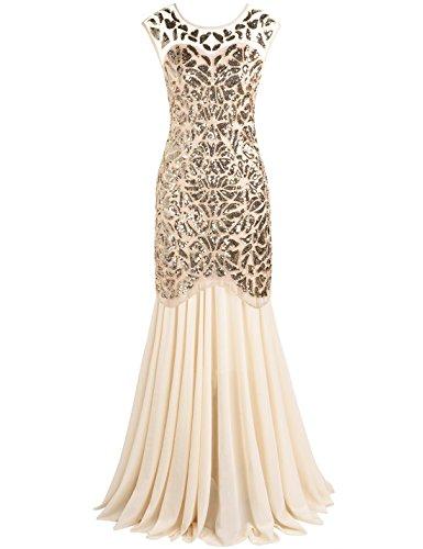 PrettyGuide Damen 1920s Schwarz Pailletten Gatsby Bodenlangen Abendkleid M Gold beige