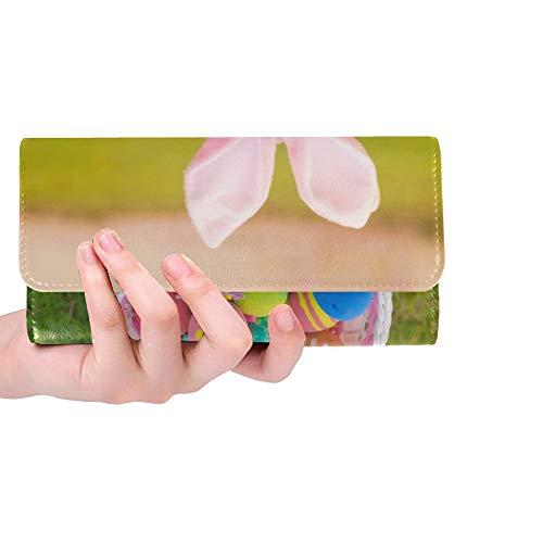 Einzigartige Custom Fawn Mops Hund trägt Kaninchen Kostüm Frauen Trifold Wallet Lange Geldbörse Kreditkarteninhaber Fall Handtasche (Custom Hunde Kostüm)