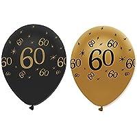 Confezione 6 palloncini nero e oro per compleanno 60 anni - 60 ° Compleanno Palloncini