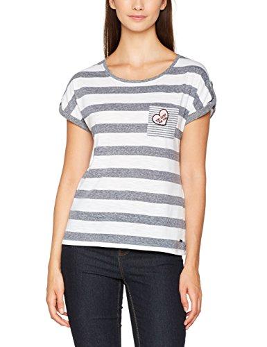 Vero Moda Vmdiana Mix Ss Top Dnm Jrs, T-Shirt Donna Grigio/Bianco thin (Light Grey Melange)