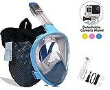 Voll Trockenen Tauchermaske für Erwachsene Kinder Kamera Halterung Lebensmittelqualität Silikon gehärtetes Glas Tauchmaske (Erwachsene blau, S/M)