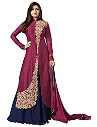 Missethnik Indian Bollywood Indo Western Salwar Suit Georgette Red Ari Work 826