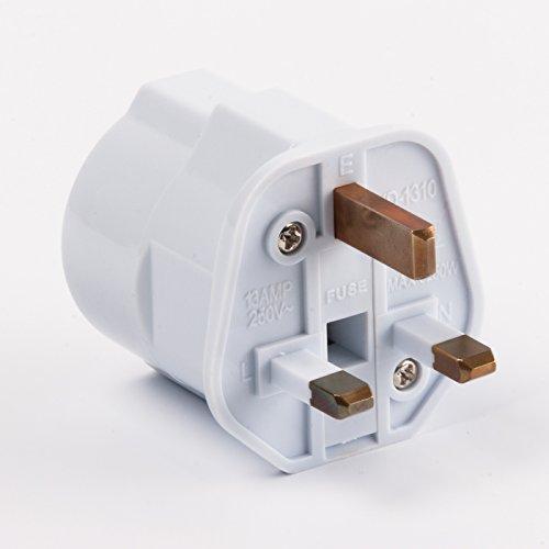 Reisestecker Reise-Adapter EU-Schuko 2-Pin auf UK 3-Pin, weiß mit Sicherung - 13a-stecker