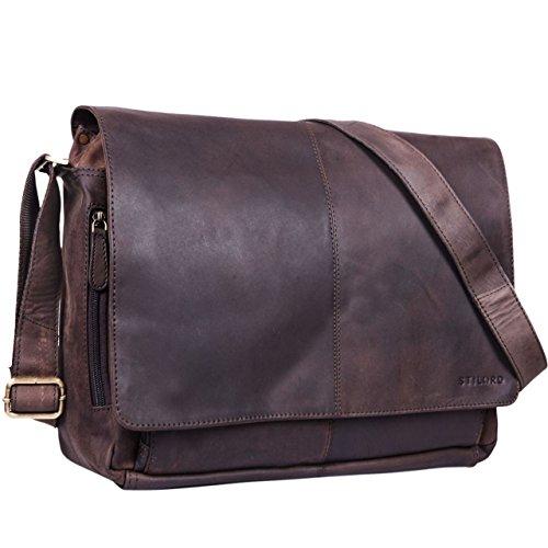 STILORD \'Alex\' Vintage Ledertasche Männer Frauen Businesstasche zum Umhängen 15,6 Zoll Laptoptasche Aktentasche Unitasche Umhängetasche Leder, Farbe:matt - Dunkelbraun