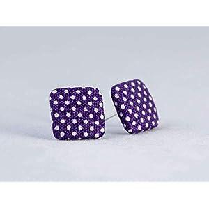 lila weiß Punkte Ohrstecker – quadratisch 15mm – Stoffohrstecker – Stoff Ohrstecker Ohrringe MotleyBees