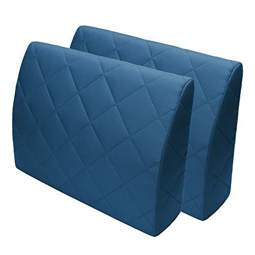 Selfitex Rückenkissen für Bett, Rückenlehne für Sofa, Lesekissen, für Lounge- oder Palettenmöbel, Länge 60 cm, Höhe 45 cm, Made in Germany (2er Set blau) (2) -