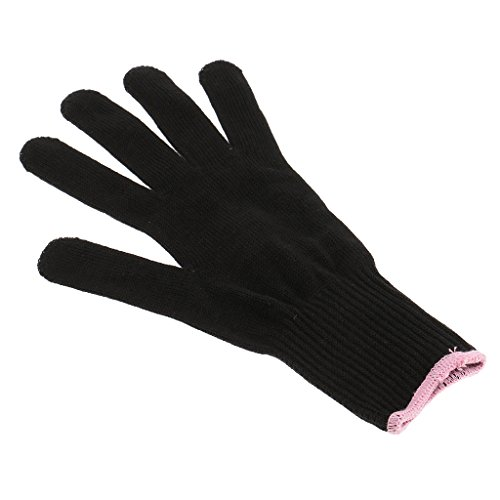 Phenovo Professional Heat Resistant Glove for Hair Styling Heat Blocking Curling Flat Iron Wand Cotton Black FOR BOTH RIGHT LEFT HAND