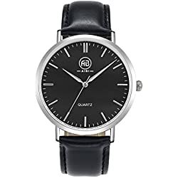 AIBI Classic Collection Herren-Quarz-Uhr mit schwarzem Zifferblatt Analog-Anzeige und schwarzem Lederarmband AB50801-2