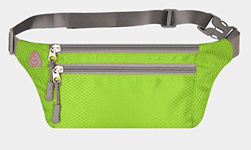 KANG@ Sport Taille Pack Multifunktions Running Männer und Frauen Outdoor Handy Tasche Anti-Diebstahl intime Stealth wasserdicht Beutel Fluoreszierend Grün