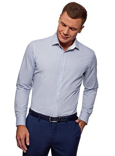 oodji Ultra Uomo Camicia Stampata con Maniche Lunghe Bianco 37 / IT 40 / EU 37 / XXS