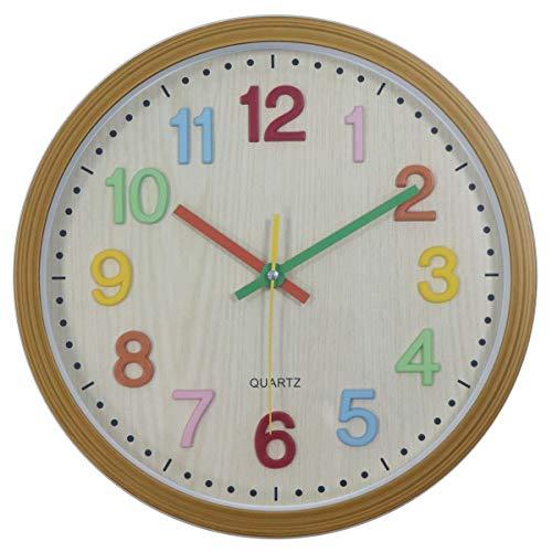 Foxtop Kinder Wanduhr Kein Ticken Kinder Wanduhr Mit 3D Zahlen Zeitlernen Stille Uhren Lernuhr Kinderzimmer Wanduhren 30 cm