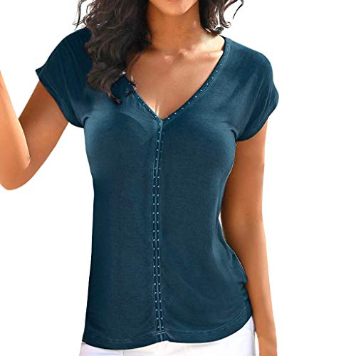 Yvelands Damen T-Shirt Sommer Kurzarm V-Ausschnitt Solide Slim Fit Tops Bluse(Marine,L) -