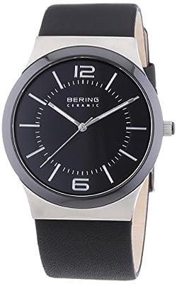 Bering Time 0 - Reloj de cuarzo para hombre, con correa de cuero, color negro de Bering Time