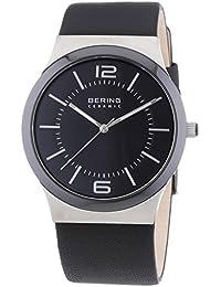 Bering Time  0 - Reloj de cuarzo para hombre, con correa de cuero, color negro