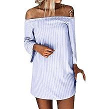 Vestido a rayas de manga larga de un hombro en otoño e invierno para mujer, BaZhaHei, Camiseta mujer de Suéter de manga larga a rayas de manga larga a rayas ...
