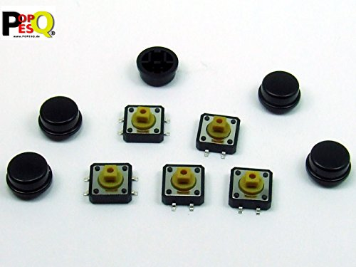 25-polig Switch Box (POPESQ® - 5 Stk. x Taster (12mm x 12mm) mit Kappe 7.3mm 4 polig SMD Schwarz Rund / 5 pcs. x Momentary switch (12mm x 12mm) with Cap 7.3mm 4 way SMD Black Round #A2121)