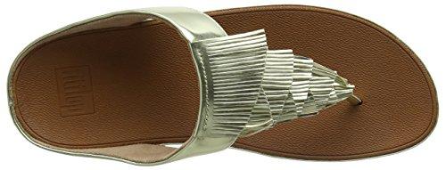 Fitflop Cha Fringe Toe-Thong Sandals, Sandali Punta Aperta Donna Gold (Gold)