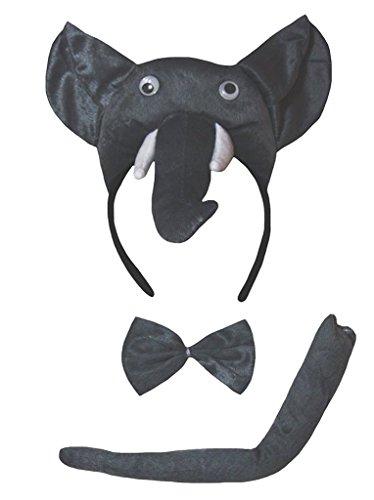 Kinder Kostüm Elefanten - Petitebelle 3D-Stirnband Bowtie Schwanz 3pc Costume Einheitsgröße 3d Elefant