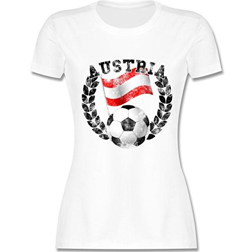 EM 2016 Frankreich Austria Flagge Fußball Vintage tailliertes Premium TShirt  mit Rundhalsausschnitt für Damen Weiß