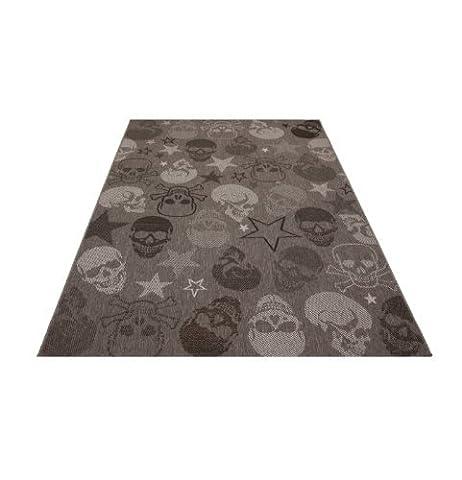 Flachgewebe Outdoor- Indoor Teppich mit Totenkopf – Größe wählbar (120