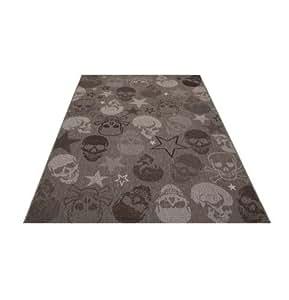 flachgewebe outdoor indoor teppich mit totenkopf gr e w hlbar 160 cm x 230 cm. Black Bedroom Furniture Sets. Home Design Ideas