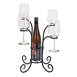 Panacea 87939 Wine Bottle & Glasses Caddy, 15-inch Height By 14.3-inch Width, Black