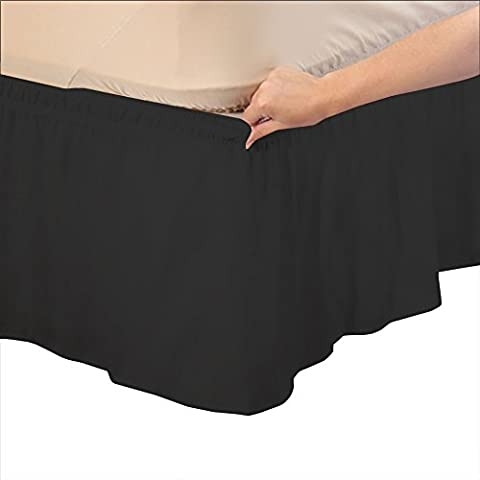 RoyalLinens Euro Super King Extra Long 500TC 100% Egyptian Cotton Black Solid Elegant Finish 1PCs Wrap Around Bedskirt Solid (Drop Length: 11 inches)