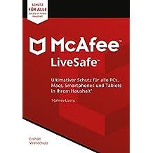 McAfee LiveSafe 2018 |Eine unbegrenzte Anzahl an Geräten | 1 Jahr | PC/Mac/Smartphone/Tablet | Download