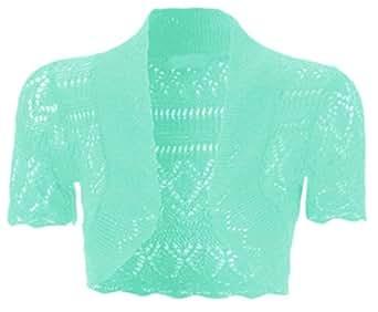 Bolero lavorato a maglia, da bambina e ragazza, a maglia, coprispalle a maniche corte, taglia 2 - 13anni Aqua Taglia unica