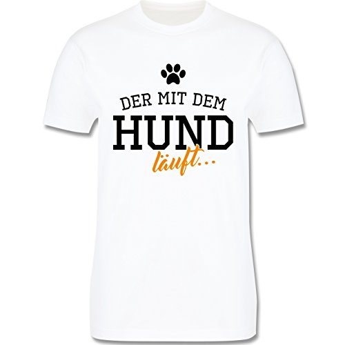 Hunde - Der mit dem Hund läuft - Herren Premium T-Shirt Weiß