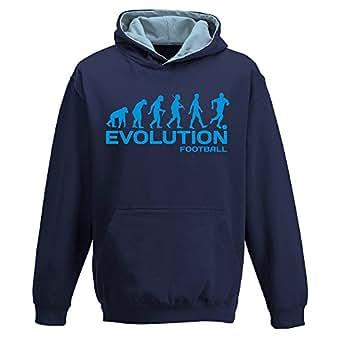 EVOLUTION FOOTBALL, two-tone HOODY, footballer, game team player, funny, childrens kids boys girls Hoodie, Navy Blue - Sky Blue, 3-4