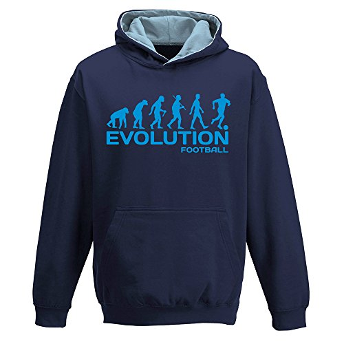 EVOLUTION FOOTBALL  two-tone HOODY  footballer  game team player  funny  childrens kids boys girls Hoodie  Navy Blue - Sky Blue  12-13